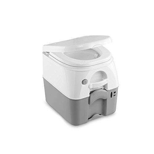 dometic portable 976 camping-toilette mit 360° druckspülung i abwassertank 18.9 liter i weiß/grau